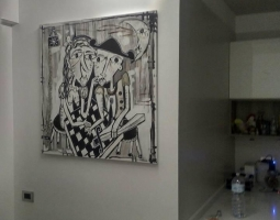 dipinto moderno in bianco e nero 100x100 cm su tela arte moderna alessandro siviglia