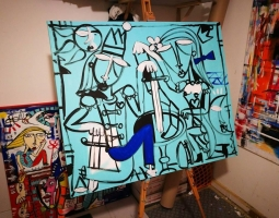 STUDIO DELL'ARTISTA ALESSANDRO SIVIGLIA, QUADRO MODERNO ARREDAMENTO STUDIO COSTRUTTORE INGEGNERE