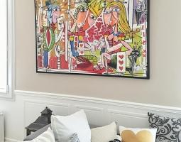 camera da letto con quadro moderno alessandro siviglia arte quadri moderni roma