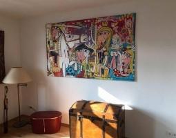 dipinto moderno arredamento soggiorno alessandro siviglia luna di miele regalo matrimonio arte moderna originale art pop art oil on canvas