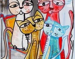 quadro - moderno - alessandro - siviglia - i gatti 40x40