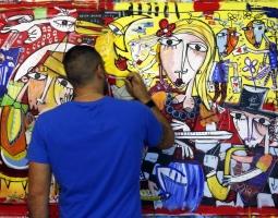 siviglia arte moderna quadro rosso con la regina della spagna