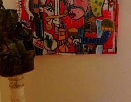 soldato siciliano quadro moderno con fondo rosso sicilia