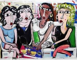 100x150 Ladies night, pop art, paiting canvas, modern art, dipinto moderno