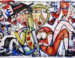 QUADRO LUNA DI MIELE 100X150 CM SU TELA OIL ON CANVAS ALESSANDRO SIVIGLIA ARTE MODERNA - MODERN ART