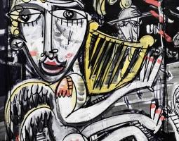 angelo con arpa 65x50 cm oil onSI canvas modern art cuadros moderno - Copia