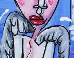 angelo con fiore 23x51 su tela