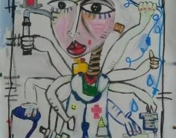 dipinto 50x70 cm anestesista quadro moderno