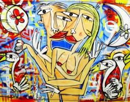 il bacio e la passione 150x100 cm su tela tec. mista