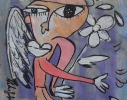l'angelo y fiore 50x60 tela