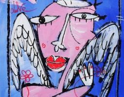 ritratto angelo 44x44 su tela