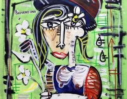 '' DONNA NEL VERDE '' SIZE 50X50 - 2015 - ACRILYC ON CANVAS