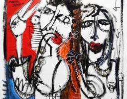 '' I FRANCESI '' SIZE 70X70 ACRILYC ON CANVAS - 2015 SI