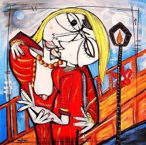 Quadro moderno dipinto bacio artista siviglia alessandro for Cercasi divano letto in regalo