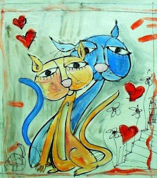quadri-gatti-gli amanti-dipinto-alessandro-siviglia