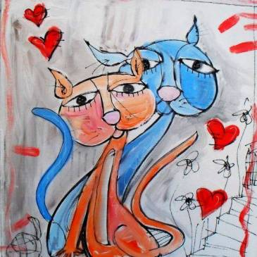 Quadri gatti dipinti su tela