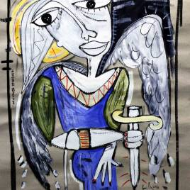 Quadro raffigurante l'arcangelo michele - dipinto moderno
