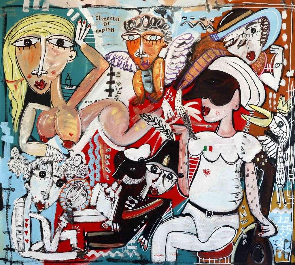dipinto pulcinella 100x100cm_quadro moderno dipinto a mano_alessandro siviglia