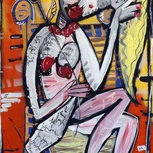 woman paper-quadro donna nuda-dipinto unico