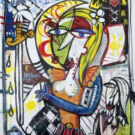 la dama del fuego_90x80-dipinto per arredamento casa moderna