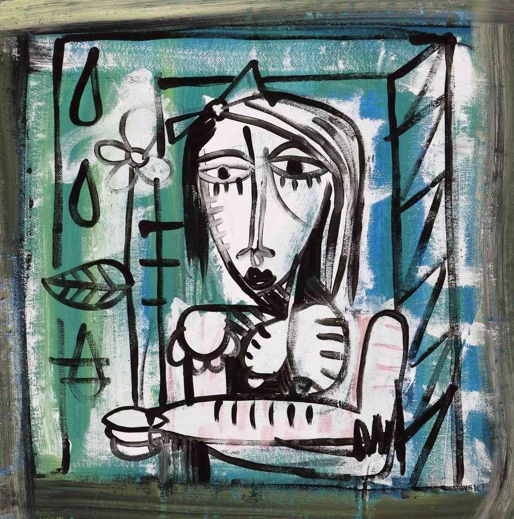 margherita_35x35-quadro dipinto a mano