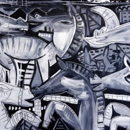 JUST CAVALLI - quadro moderno dipinto con cavalli che corrono