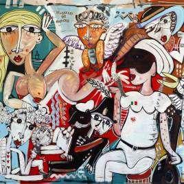dipinto pulcinella, quadro moderno napoli
