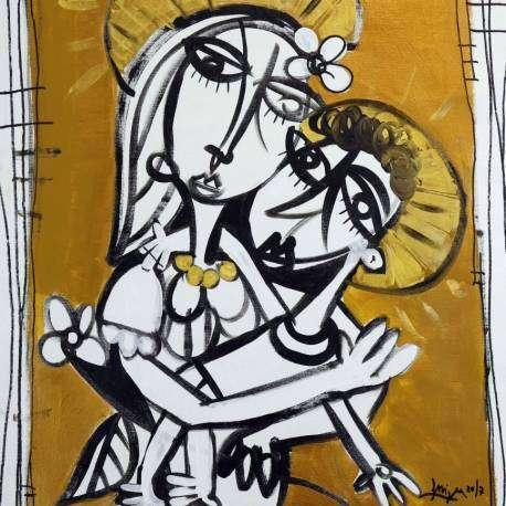 Madonna bianca - quadro moderno madonna con bambino