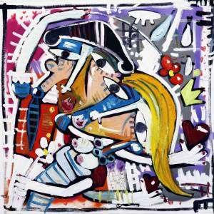 nostro matrimonio_100x100_quadro dipinto a mano_sposi_matrimonio_amore