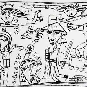 pensieri_40x80- dipinto monocromatico dipinto a mano su tela