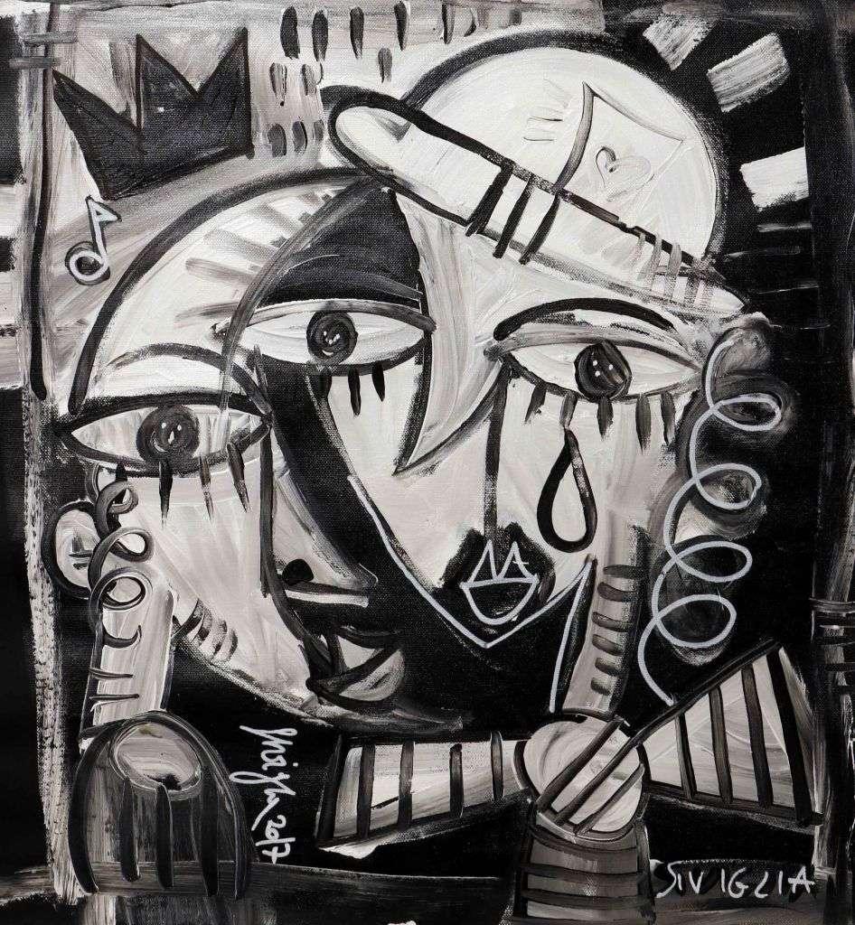 Addio alla Luna - quadro in bianco e nero di Siviglia