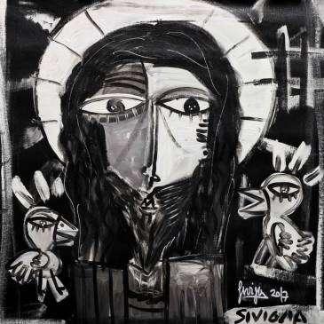 quadri moderni-i passerotti da Gesù- dipinto bianco e nero moderno