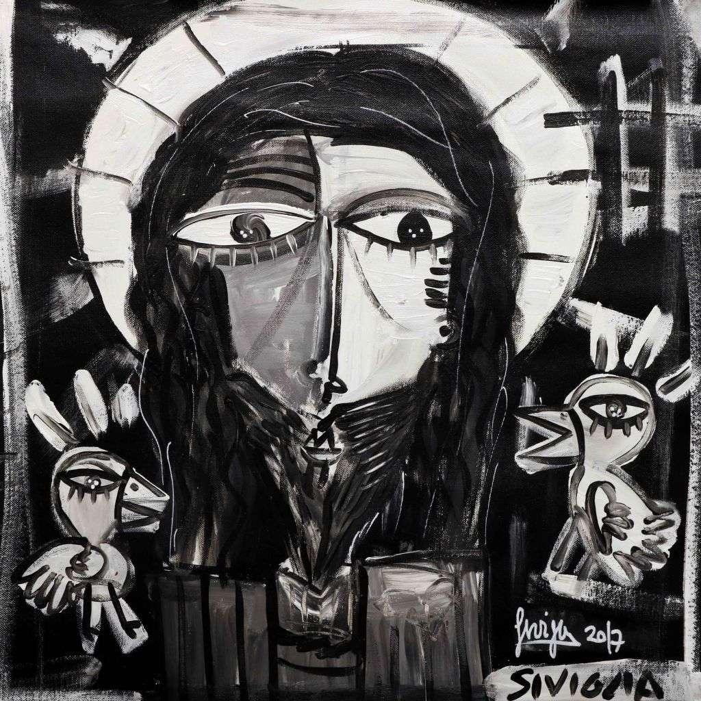 i passerotti da Gesù- dipinto bianco e nero moderno