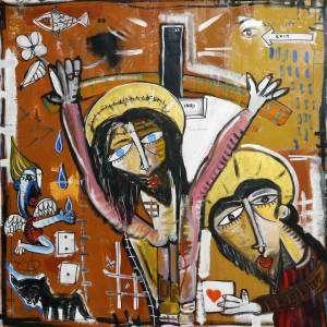 Il dono di cristo - dipinto sacro - quadro contemporaneo di cristo