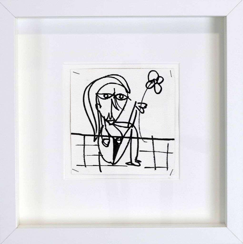 TRISTEZZA - quadro moderno, disegno in bianco e nero, ragazza triste