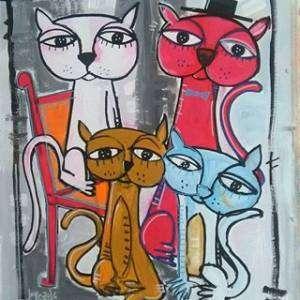 quadro moderno gatti in attesa che aspettano da mangiare