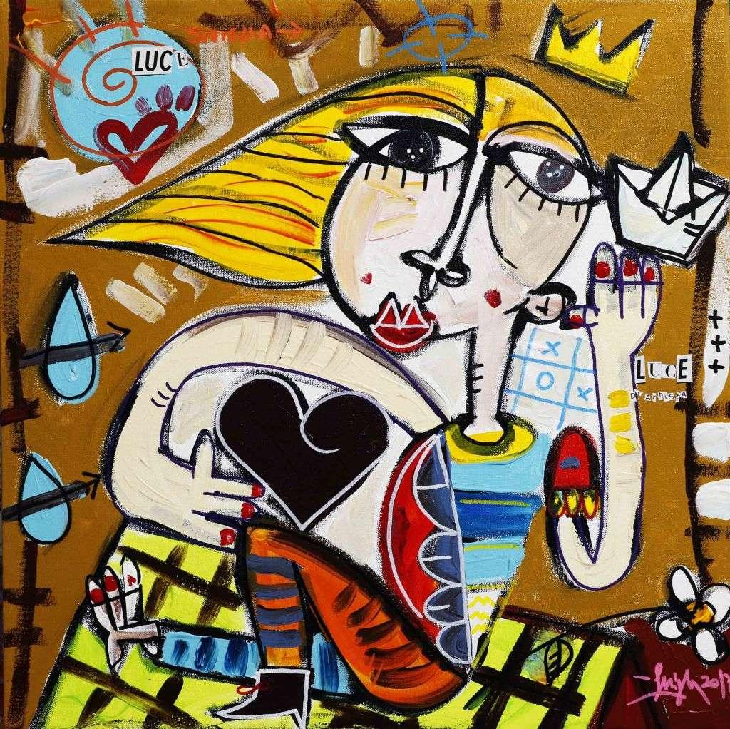 LUCE D'ARTISTA - quadro con donna che da luce