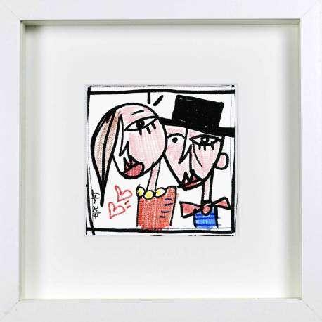 alla spalla, bomboniera unica dipinta a mano su tela, ideale per rendere unico il tuo matrimonio con bomboniere uniche personalizzate