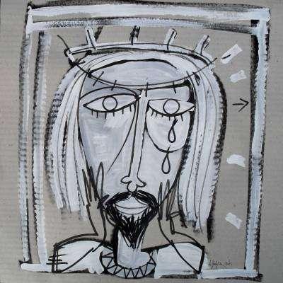 quadro acrilico su carta la passione di cristo