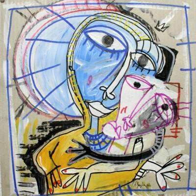 olio su carta dipinto di siviglia arte moderna