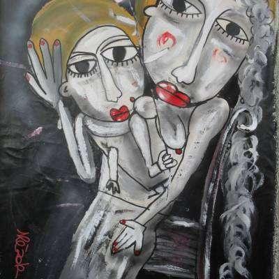 la maternità dipinto a mano su tela con particolare in oro Siviglia ART