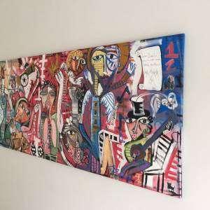 ARREDAMENTO ARTE MODERNA ALESSANDRO SIVIGLIA, quadro moderno con strumenti musicali con colore blu scuro e rosa