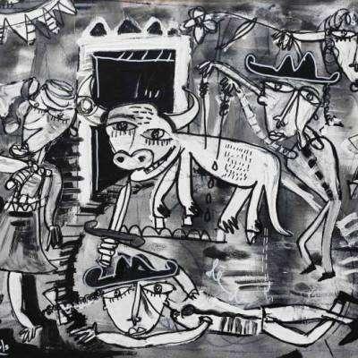 dipinto moderno madrid paesaggio con figure