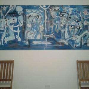 QUADRO GRANDE DA MUSEO ALESSANDRO SIVIGLIA CON TONALITà DI AZZURRI