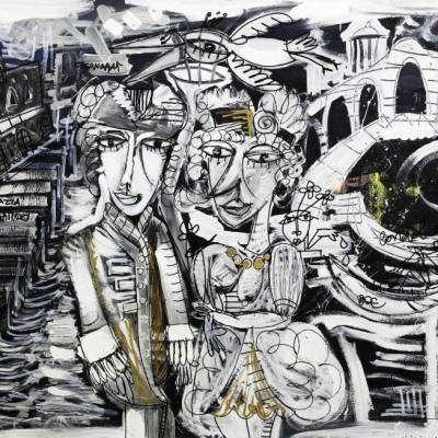 dipinto paesaggio con figurativo di venezia piazza San Marco