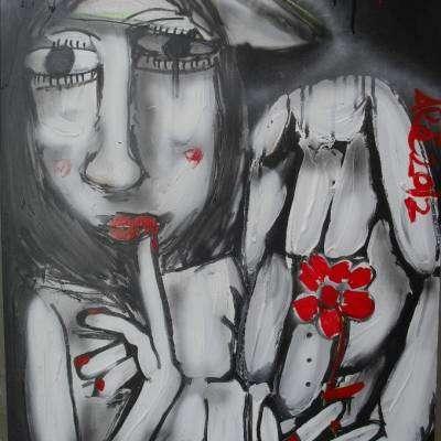 dipinto moderno angelo in bianco e nero con particolari in rosso dipinto a mano su tavola