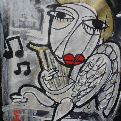 angelo con arpa dipinto contemporaneo