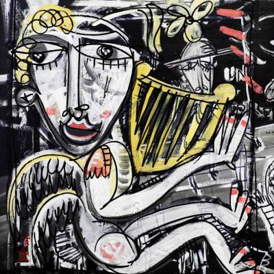 quadro moderno dipinto a mano su tela angelo con arpa