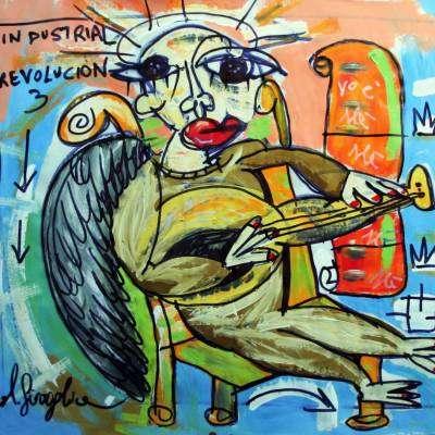 quadro moderno angelo musicista
