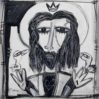 ritratto di cristo in bianco e nero quadro moderno arte sacra